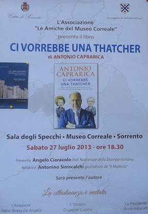 Al Museo Correale la presentazione del nuovo libro di Antonio Caprarica