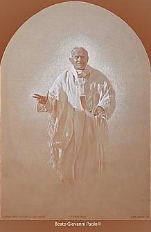 Una pala con il volto di Giovanni Paolo II esposta nella cattedrale di Sorrento