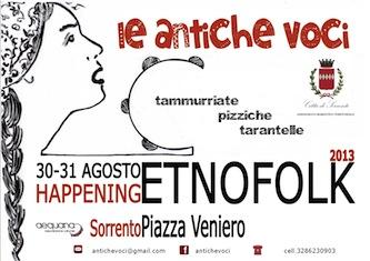 """""""Le antiche voci"""", primo festival etno-folk a Sorrento"""