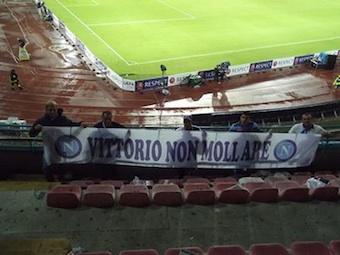 """Il """"Club Napoli Massa Lubrense"""" al San Paolo con lo striscione """"Vittorio non mollare"""""""