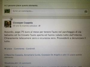 Sant'Agnello, ripulita l'auto dell'ex assessore Coppola, sfogo su Facebook