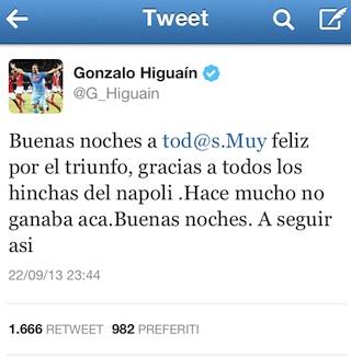 """Il tweet di Higuain nella notte: """"Felice per la vittoria, continuiamo così"""""""