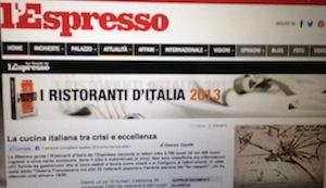 """""""Tre cappelli"""" per la """"La torre del Saracino"""" secondo la guida dei ristoranti de L'Espresso"""