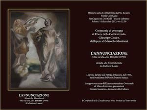 """""""L'annunciazione"""", il quadro di Marcello Mondazzi sarà donato da Raffaele Lauro alla  Confraternita del SS. Rosario di Sant'Agata"""