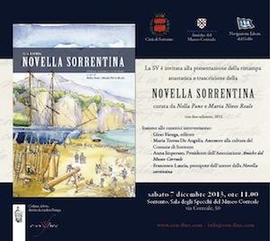 """Sabato al Museo Correale la presentazione del libro la """"Novella Sorrentina"""""""