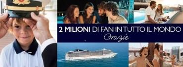 Msc supera i due milioni di fan su Facebook: la compagnia di Aponte entra nelle migliori 10 pagine dedicate ai viaggi