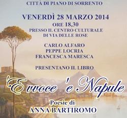 """A Piano la presentazione del libro  """" 'E vvoce 'e Napule"""" di Anna Bartiromo"""