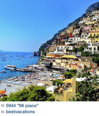 """La pagina Instagram """"bestvacations"""" premia lo scatto di Positano"""