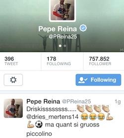 """Pepe Reina elogia Mertens dopo il gol: """"Si gruoss, piccolino"""""""