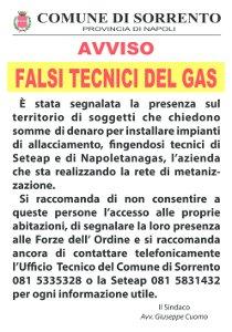 Truffa a Sorrento: falsi tecnici chiedono somme di denaro per l'allaccio del gas
