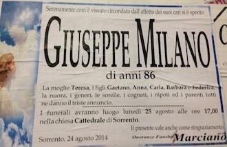 Grave lutto per l'avvocato Gaetano Milano