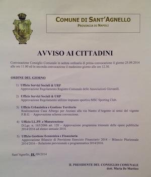 Ordine del giorno consiglio comunale Sant'Agnello