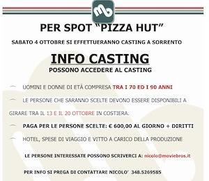 Ecco il nuovo casting per lo spot di Pizza Hut: un occasione per gli over 70