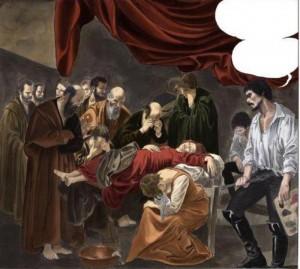 (ANSA) - NAPOLI, 27 APR - Milo Manara con il suo Caravaggio a Comicon a Napoli