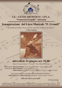 """Mercoledì l'inaugurazione del Liceo Musicale """"Grandi"""""""
