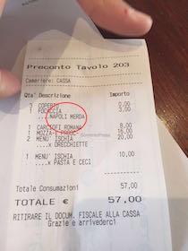 Coppia di Sorrento riceve scontrino in ristorante di Roma con scritto Napoli m…