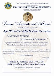 Il 27 febbraio la consegna del Premio Sorrento nel Mondo