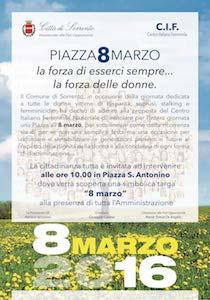Festa della Donna, Sorrento dedica una piazza alle vittime di abusi