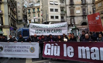 Manifestazione a Roma dei lavoratori stagionali