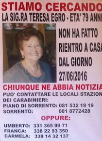 Anziana scomparsa a Piano di Sorrento, appello dei familiari