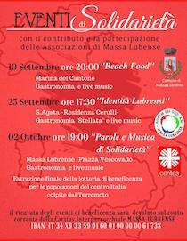 Tre eventi per raccogliere fondi a favore dei terremotati