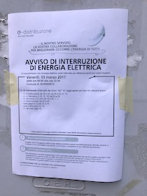 Domani niente energia elettrica nel centro di Sorrento