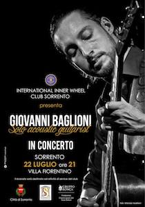 Questa sera il concerto di Giovanni Baglioni a Villa Fiorentino