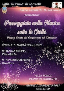 """A Villa Fondi """"Passeggiata nella Musica sotto le Stelle"""""""
