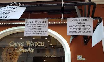 Rimozione della tenda di Capri Watch, singolare protesta del titolare