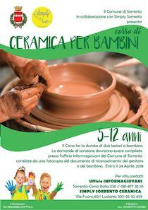 Al via le iscrizioni al secondo corso di ceramica per bambini a Sorrento