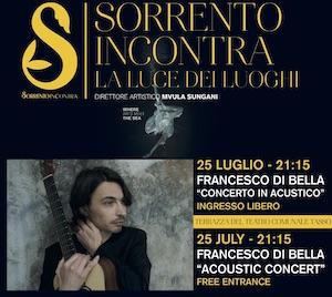 Domani a Sorrento concerto di Francesco Di Bella