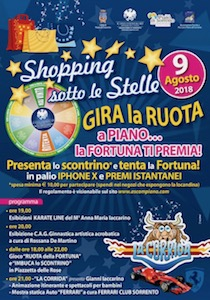 A Piano di Sorrento sconti e premi con Shopping sotto le stelle