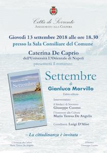 """A Sorrento la presentazione del libro """"Settembre"""" di Morvillo"""