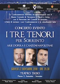 """Al teatro Tasso il concerto """"I tre tenori per Sorrento"""""""