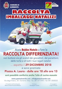 Imballaggi natalizi ed olio esausto, raccolta straordinaria a Sorrento