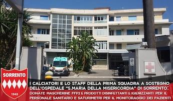 Il Sorrento dona presidi sanitari all'ospedale cittadino