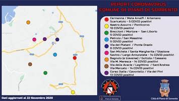 A Piano di Sorrento 5 contagi e 7 guariti, la mappa del Covid