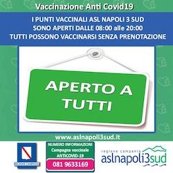 Presso i punti vaccinali Asl Napoli 3 Sud non serve la prenotazione